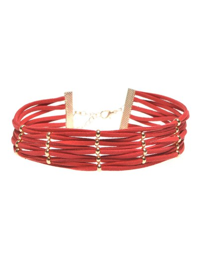 Velvet Band Interweave Layered Choker - RED  Mobile