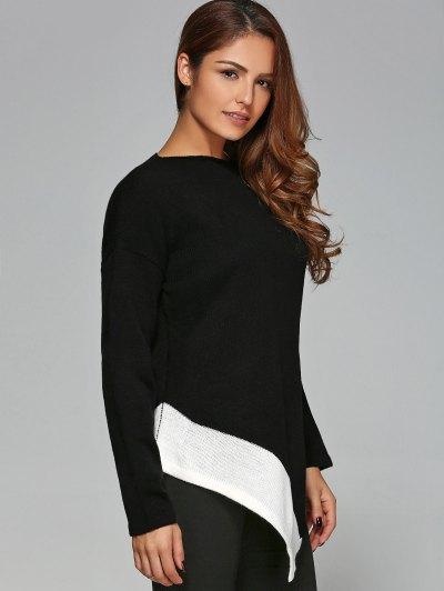 Asymmetric Slash Neck Knitwear - WHITE AND BLACK M Mobile