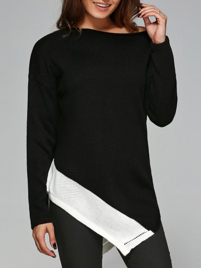 Asymmetric Slash Neck Knitwear - WHITE AND BLACK L Mobile