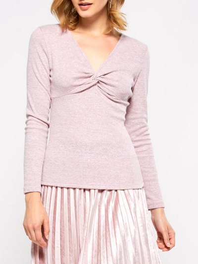 Long Sleeves Twisted T-Shirt - GRAY L Mobile