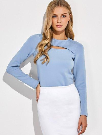 Long Sleeves Cutout Tee - BLUE GRAY L Mobile