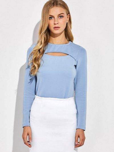 Long Sleeves Cutout Tee - BLUE GRAY M Mobile