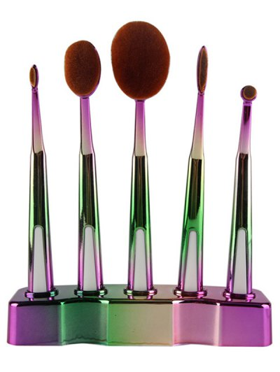 5 Pcs Ombre Toothbrush Shape Makeup Brushes Set with Holder - GREEN  Mobile