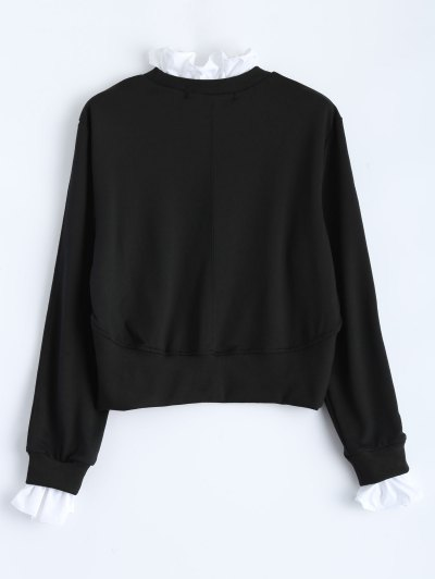 Ruffles Panel Cropped Pullover Sweatshirt - BLACK L Mobile