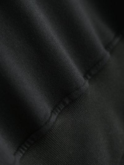 Ruffles Panel Cropped Pullover Sweatshirt - BLACK M Mobile