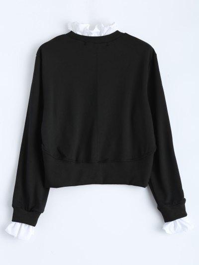 Ruffles Panel Cropped Pullover Sweatshirt - BLACK XS Mobile