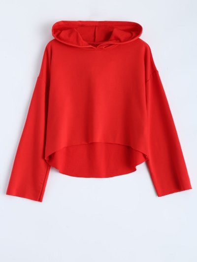 Cropped High Low Hoodie - RED M Mobile