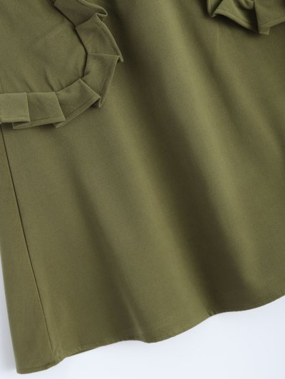 A Line High Rise Pockets Skirt - ARMY GREEN L Mobile