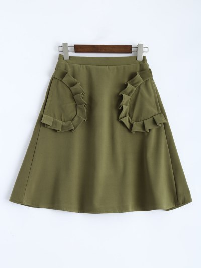 A Line High Rise Pockets Skirt - ARMY GREEN M Mobile