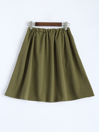 A Line High Rise Pockets Skirt - ARMY GREEN S Mobile