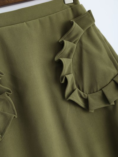 A Line High Rise Pockets Skirt - ARMY GREEN XS Mobile