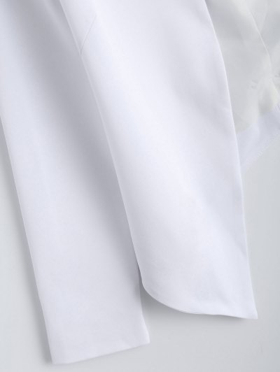 Collarless Open Front Blazer - WHITE L Mobile