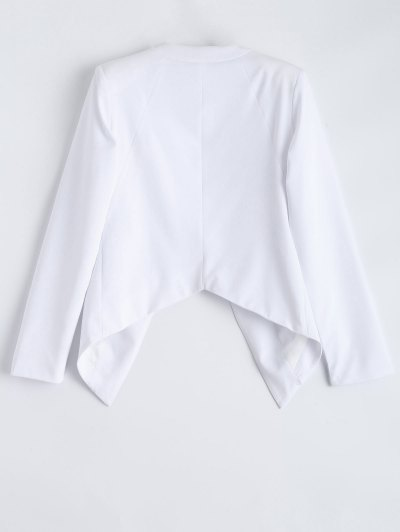 Collarless Open Front Blazer - WHITE S Mobile