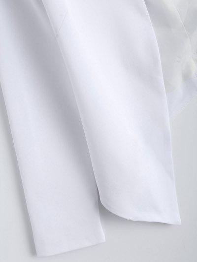 Collarless Open Front Blazer - WHITE XS Mobile