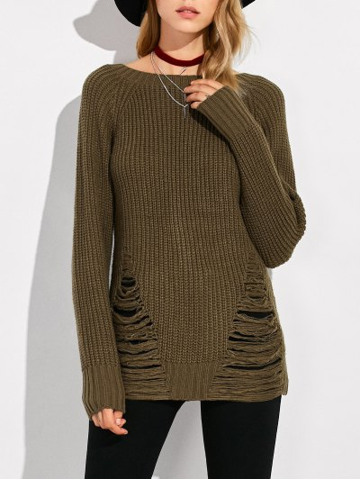 Ripped Chunky Crew Neck Sweater - ARMY GREEN XL Mobile