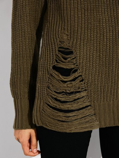 Ripped Chunky Crew Neck Sweater - ARMY GREEN M Mobile
