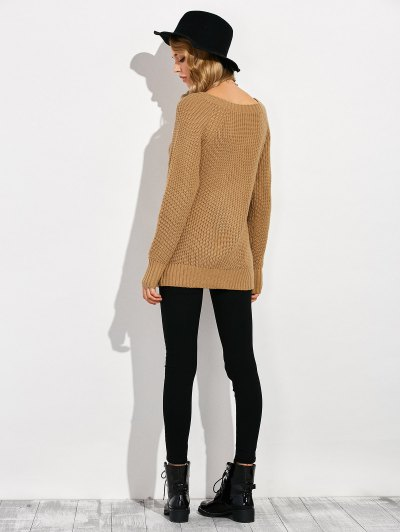 Ripped Chunky Crew Neck Sweater - BROWN XL Mobile