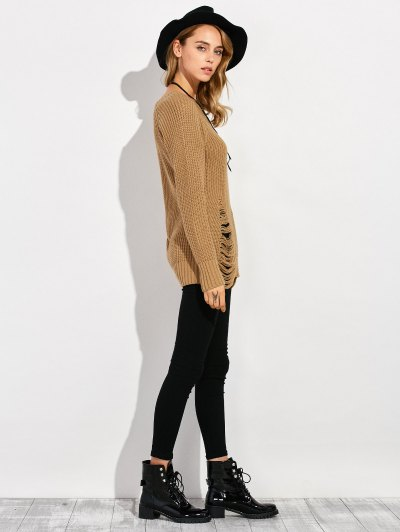 Ripped Chunky Crew Neck Sweater - BROWN L Mobile
