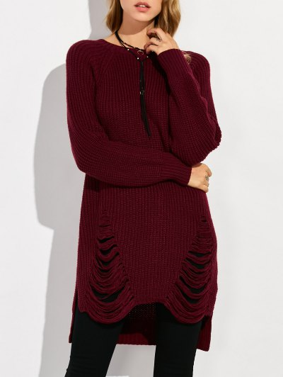 Crew Neck Ripped Chunky High Low Sweater - WINE RED 2XL Mobile