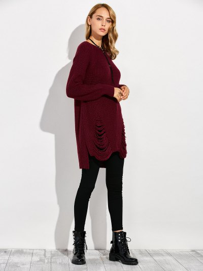 Crew Neck Ripped Chunky High Low Sweater - WINE RED L Mobile