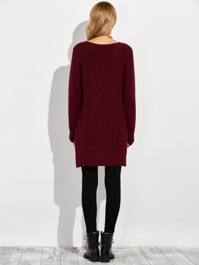 Crew Neck Ripped Chunky High Low Sweater - WINE RED M Mobile