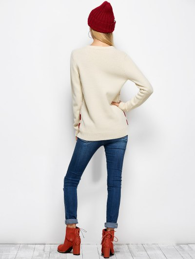 Letter Crew Neck Christmas Pullover Sweater - PALOMINO M Mobile