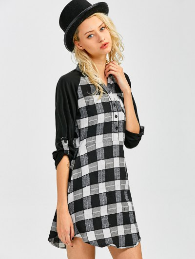 Checked Lace Panel Mini Shift Dress - CHECKED M Mobile