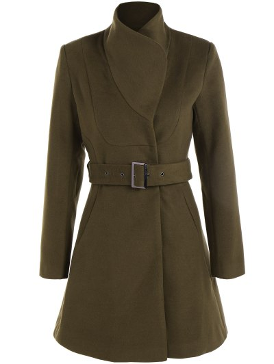 Belted High Neck Skater Coat - ARMY GREEN XS Mobile