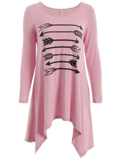 Long Sleeve Arrow Print Tee - PINK XL Mobile