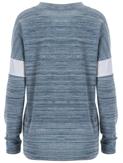 Space Dyed Arrow Pattern V Neck T-Shirt - LIGHT BLUE XL Mobile