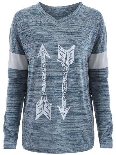 Space Dyed Arrow Pattern V Neck T-Shirt - LIGHT BLUE S Mobile