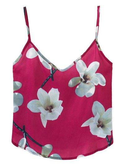 Adjusted Floral Satin Camisole - RED L Mobile