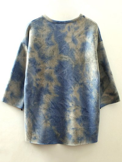 Ombre High-Low Sweatshirt - BLUE ONE SIZE Mobile