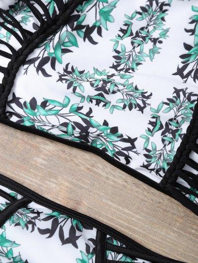 Plant Print Halter Strappy Bikini Set - MULTICOLOR L Mobile