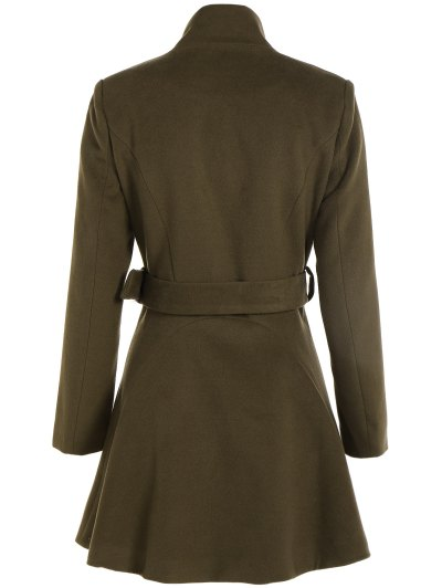 Belted High Neck Skater Coat - ARMY GREEN XL Mobile