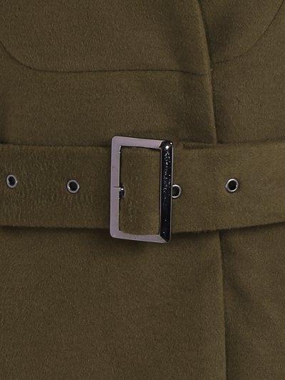 Belted High Neck Skater Coat - ARMY GREEN L Mobile