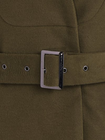 Belted High Neck Skater Coat - ARMY GREEN M Mobile