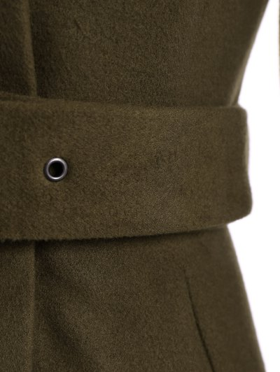 Belted High Neck Skater Coat - ARMY GREEN S Mobile