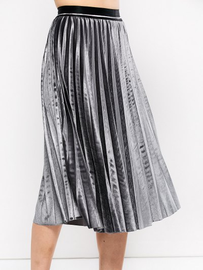 Accordion Pleat Velvet Skirt - GRAY ONE SIZE Mobile