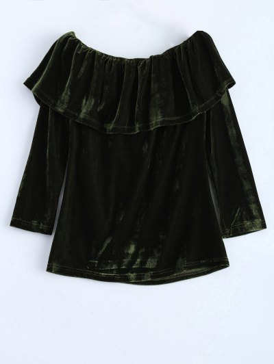 Velvet Off Shoulder Ruffles T-Shirt - GREEN M Mobile