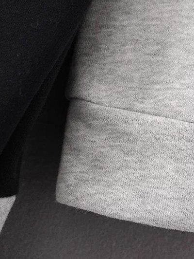 Mock Neck Color Block Sweatshirt - BLACK AND GREY L Mobile