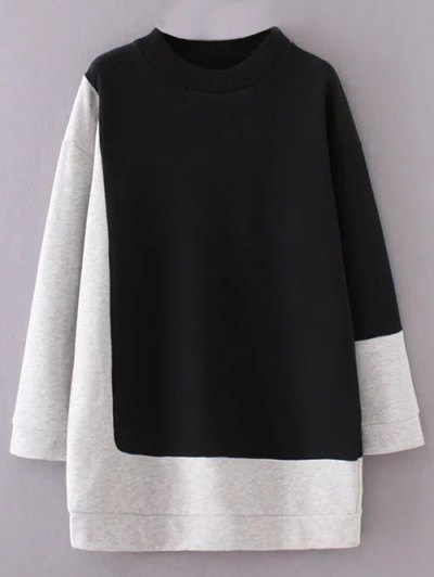 Mock Neck Color Block Sweatshirt - BLACK AND GREY M Mobile
