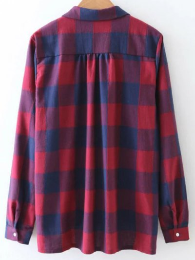 Checked V Neck High Low Blouse - PLAID L Mobile