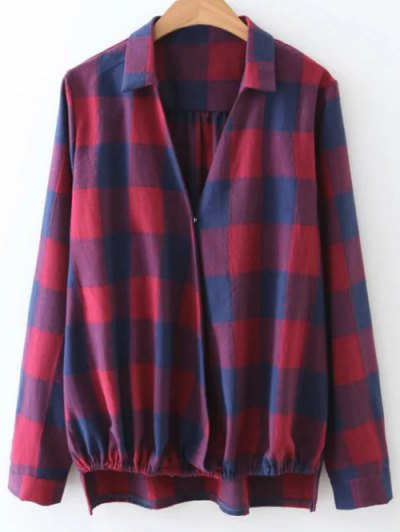 Checked V Neck High Low Blouse - PLAID S Mobile