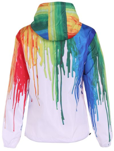 Splatter Paint Windbreaker Jacket - WHITE L Mobile