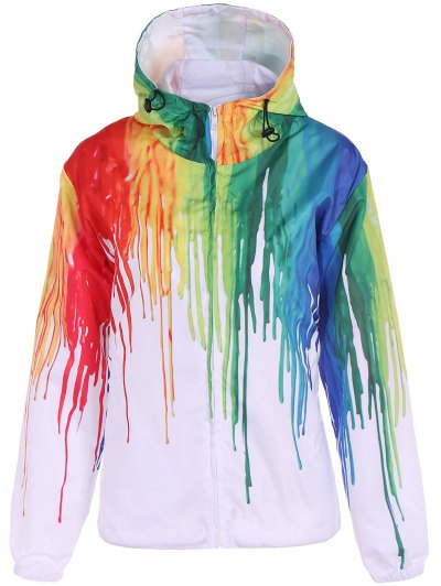 Splatter Paint Windbreaker Jacket - WHITE M Mobile