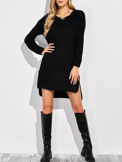 High-Low Knitting Dress - BLACK ONE SIZE Mobile