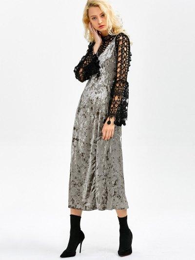 Velvet Slit Midi Dress - GRAY L Mobile