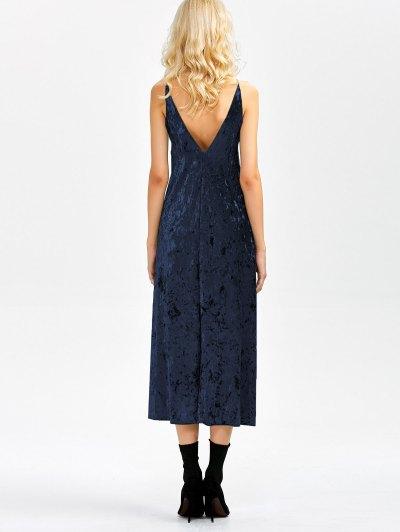 Velvet Slit Midi Dress - SAPPHIRE BLUE S Mobile