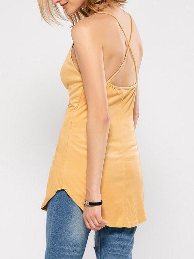 Suede Criss Back Slip Top - YELLOW M Mobile